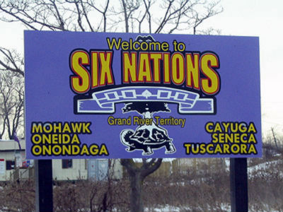Welcome sign for the Six Nations of the Grand River.